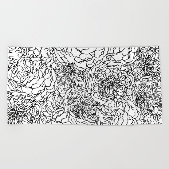 SPRING IN BLACK AND WHITE Beach Towel