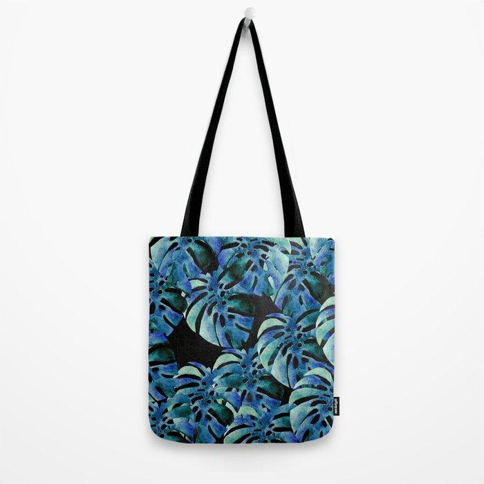 Monstera Pattern Blue On Chalkboard Tote Bag
