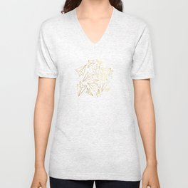 Paper Airplanes Faux Gold on Grey Unisex V-Neck