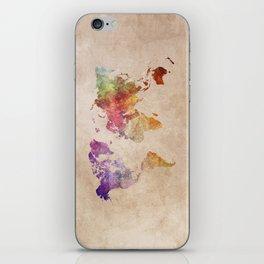 World Map Watercolor iPhone Skin