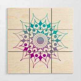 Mandala #2 (Purple Pink Turquiose) Wood Wall Art