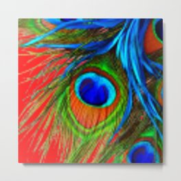 RED & BLUE-GREEN  BAROQUE  PEACOCK FEATHERS ART Metal Print
