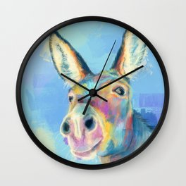 Carefree Donkey - Digital and Colorful Animal Illustration Wall Clock