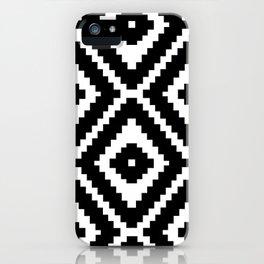 Monochrome Ikat Diamond Pattern iPhone Case