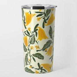 Yellow Bright Flower Pattern Travel Mug