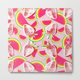 Strawberries Melon Fiesta Pattern Metal Print