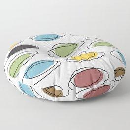 Mid Century Modern Ovals Scribbles Floor Pillow