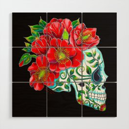 Sugar Skull with Red Poppies Wood Wall Art