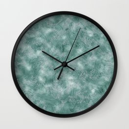 Teal Green Marble Texture Wall Clock