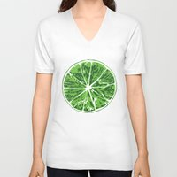 lime V-neck T-shirts featuring Lime by Kcin