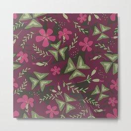 Shamrock Floral Layered Pattern / Purple Metal Print
