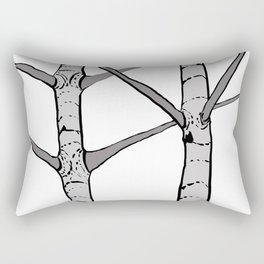 Poplar Tree Illustrated Print Rectangular Pillow