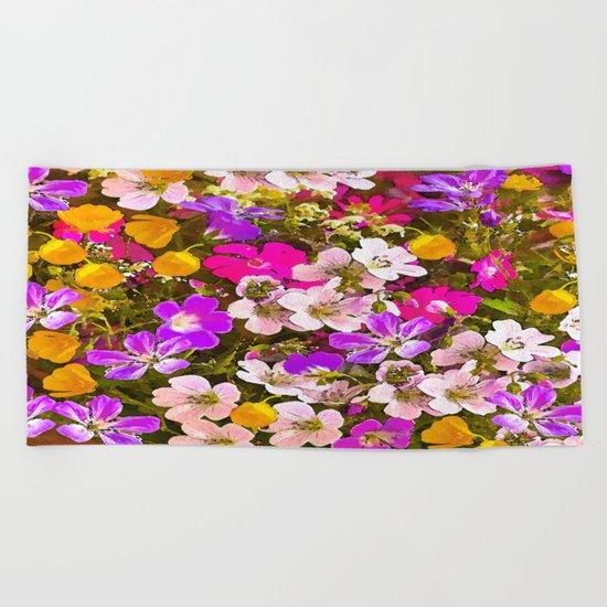 Colorful meadow flowers #Society6 #buyart Beach Towel