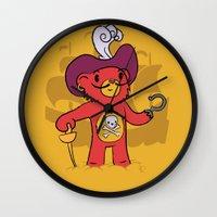 captain hook Wall Clocks featuring Captain Bear Hook by pepemaracas