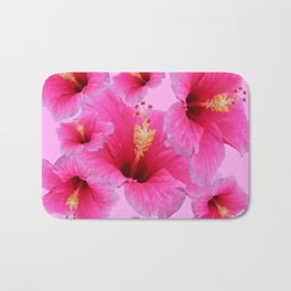GIRLY TROPICAL PINK HIBISCUS ART Bath Mat