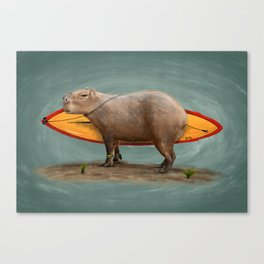 Capybara Surfer Canvas Print