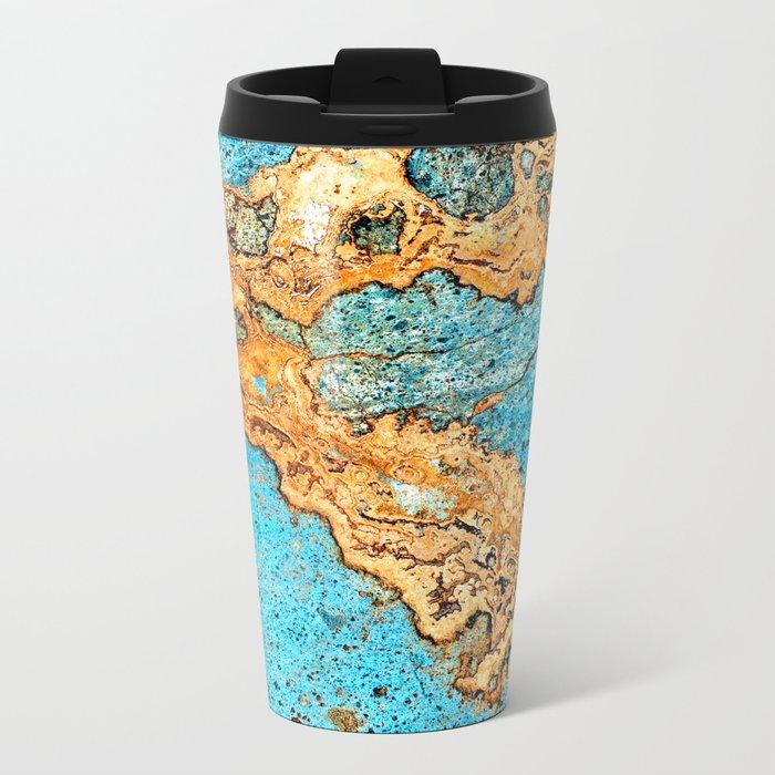 Aqua & Gold Metal Travel Mug