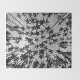 Above Palm Trees (Black and White) Throw Blanket