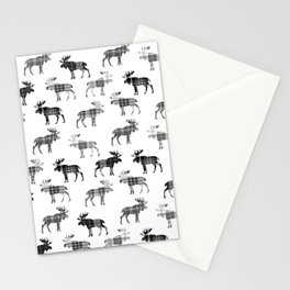 Moose Trot // Black & White Plaid Stationery Cards