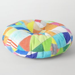 Playful Colorful Architectural Pattern Floor Pillow
