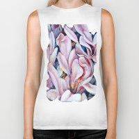 magnolia Biker Tanks featuring magnolia by Eva Lesko