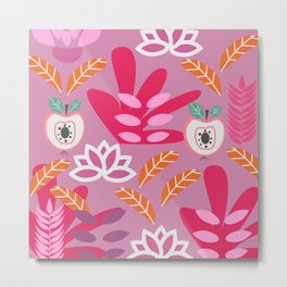 Apples and plants in shades of pink Metal Print