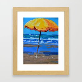 Yellow beach umbrella Framed Art Print