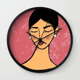 Pearl earrings in Pink Wall Clock