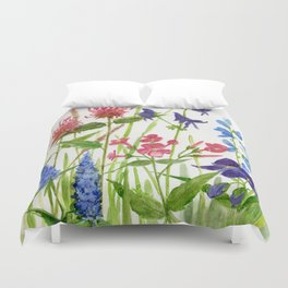 Garden Flowers Botanical Floral Watercolor on Paper Duvet Cover