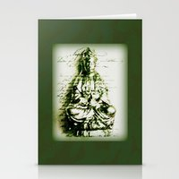 budi satria kwan Stationery Cards featuring Antique Green Kwan Yin by Jan4insight