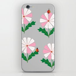 White and Pink Daisies and Lady Bugs iPhone Skin