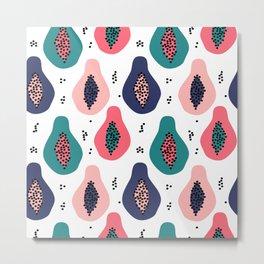 cute colorful papaya tropical pattern background Metal Print