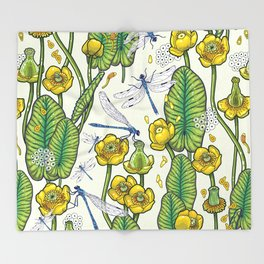 yellow water lilies and dragonflies Throw Blanket