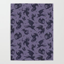 Batcats purple Poster
