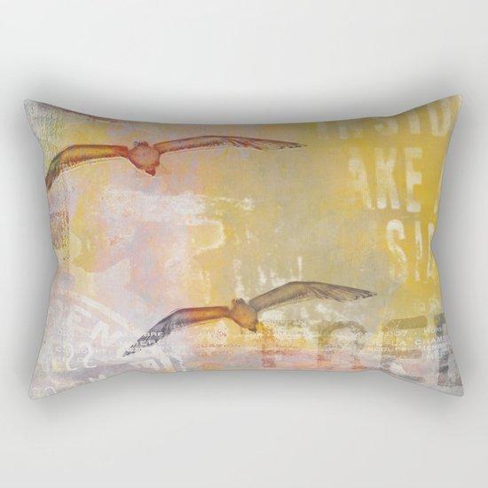 Free bird mixed media artwork Sea Gulls and Typography Rectangular Pillow