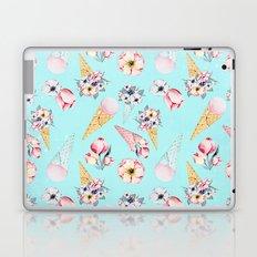 Pink & Teal Summer Fun Flower Ice Cream Cone - Pattern Laptop & iPad Skin