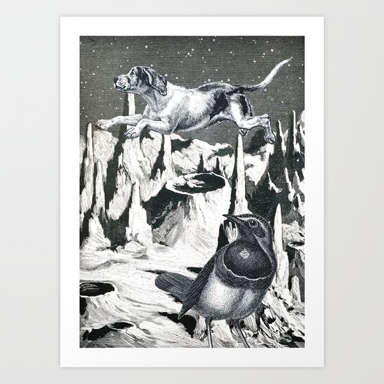 Yes, It's Safer Up Here ! Art Print