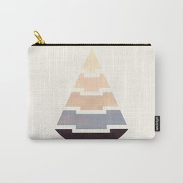 Grey Mid Century Modern Minimalist Aztec Triangle Geometric Pattern Pyramid Watercolor Gradient Carry-All Pouch