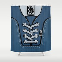 vans Shower Curtains featuring blue Vans shoes iPhone 4 4s 5 5s 5c, ipod, ipad, pillow case and tshirt by Three Second