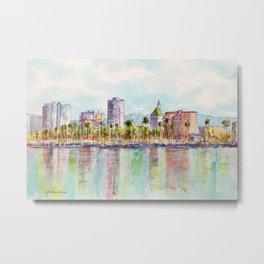 Long Beach Coastline Reflections Metal Print