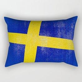 Swedish Distressed Halftone Denim Flag Rectangular Pillow