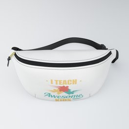 Teacher I Teach Awesome Kids Puzzle Pieces Fanny Pack