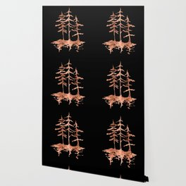 THE THREE SISTERS Trees Rose Gold Wallpaper