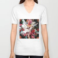 glitch V-neck T-shirts featuring Floral Glitch II by Kate Tova