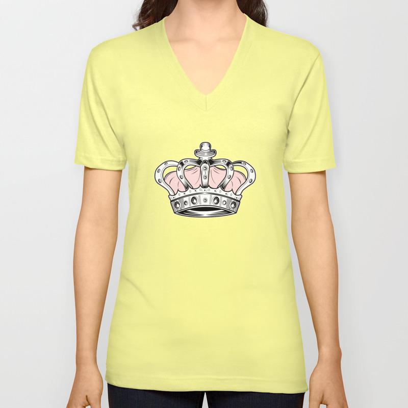 Crown - Pink Unisex V-Neck by adamzworld