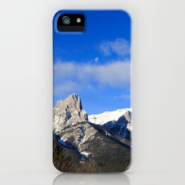 Moon set over mountains. iPhone Case