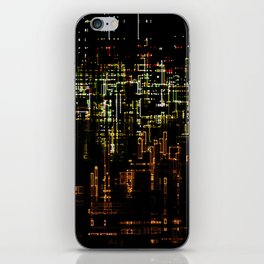 Abstract cityscape lights urban illustration building night life human painting iPhone Skin