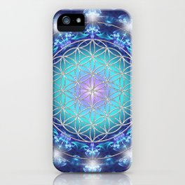Flower Of Life Mandala Fractal turquoise iPhone Case