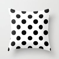 polka dots Throw Pillows featuring Polka Dots (Black/White) by 10813 Apparel
