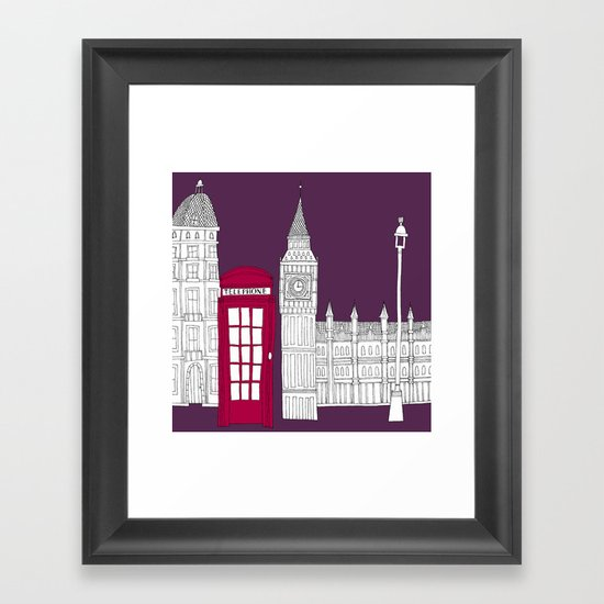 Night Sky // London Red Telephone Box Framed Art Print